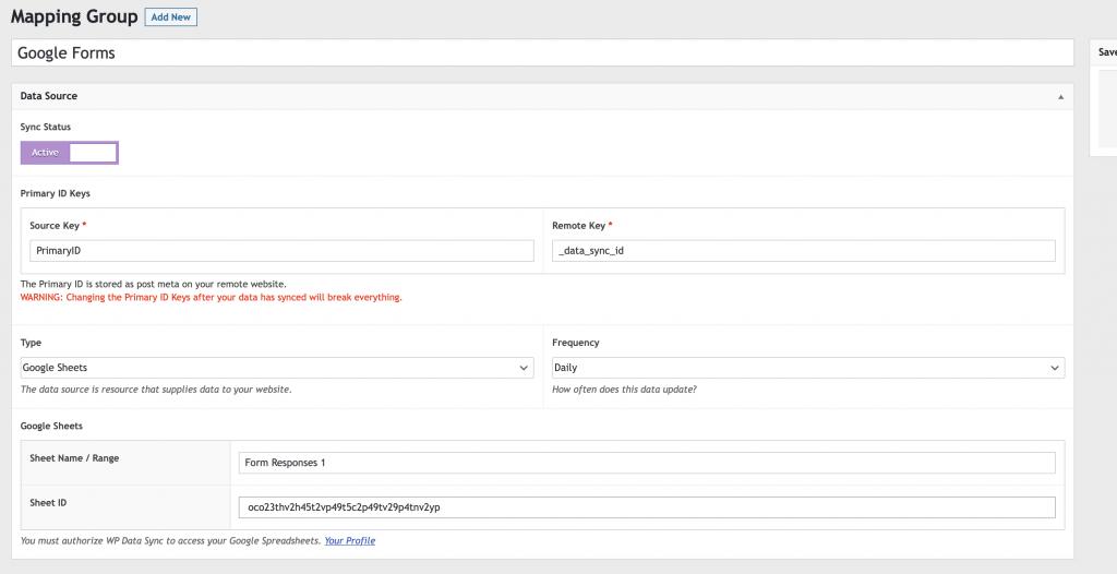 Set up Google Sheets Data Source