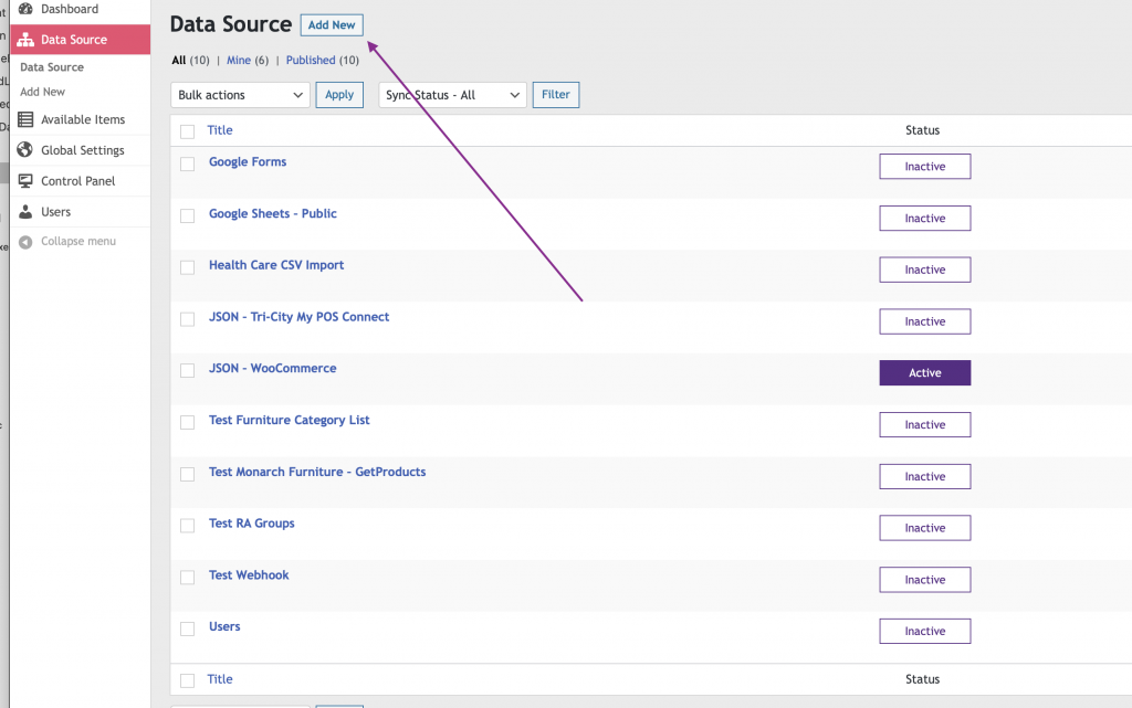 WP Data Sync Add new Data Source