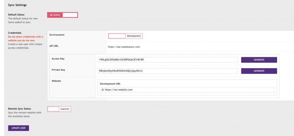 WP Data Sync API Credentials UI