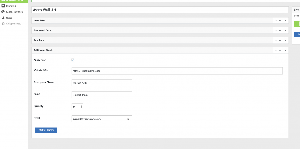 WP Data Sync Additional Fields Form Inputs