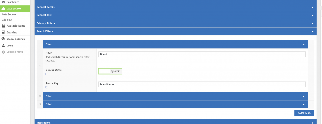WP Data Sync Data Source Search Filters UI