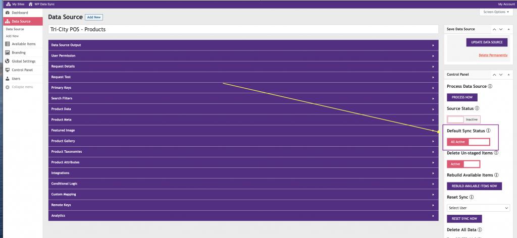 WP Data Sync Data Source Sync Status