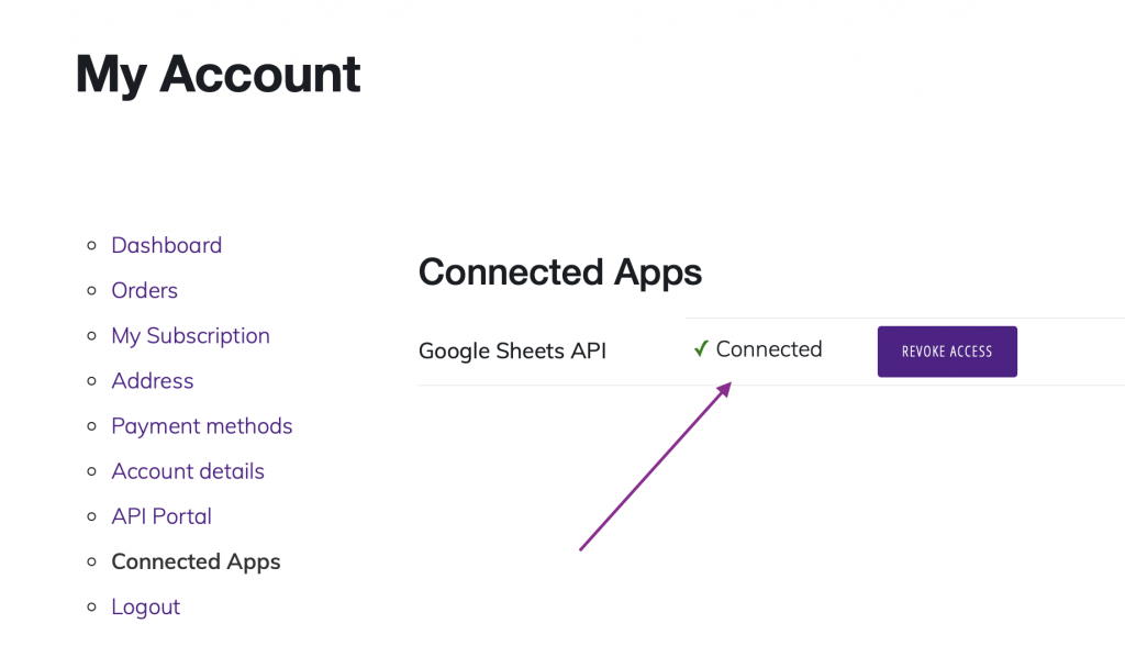 WP Data Sync connected apps connected